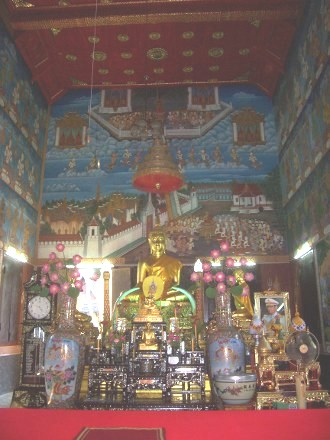 Buddha image in an ordination hall in Thailand