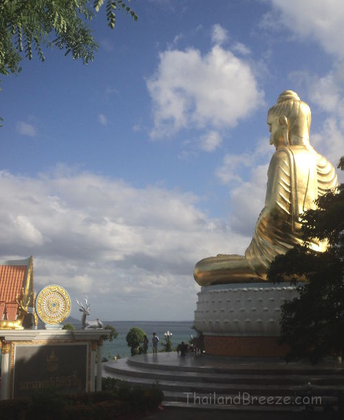 A golden Buddha Statue at Wat Tang Sai in Ban Krut, Prachuap.