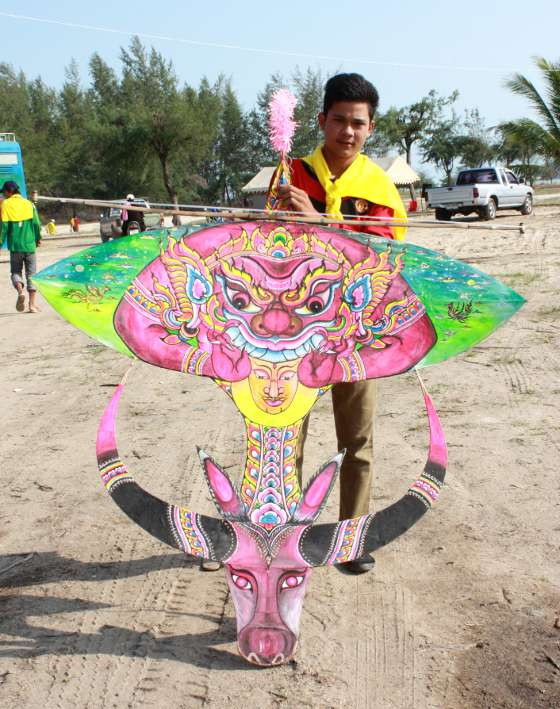 A Thai buffalo kite at the International Kite Festival in Satun.