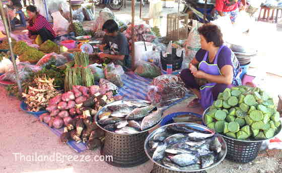 A vendor at a weekly local market in Prachuap selling fish and vegetables.