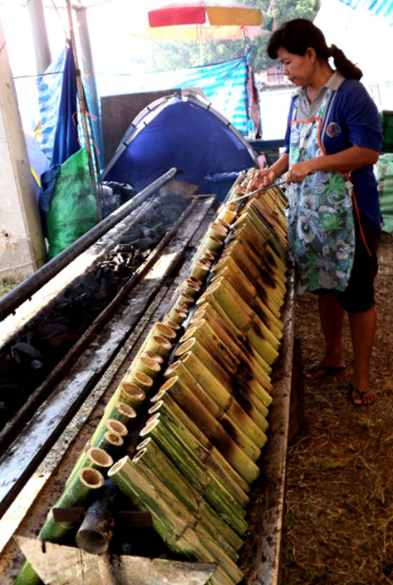 In Thailand sticky rice is put in bamboo joints and grilled over charcoal.