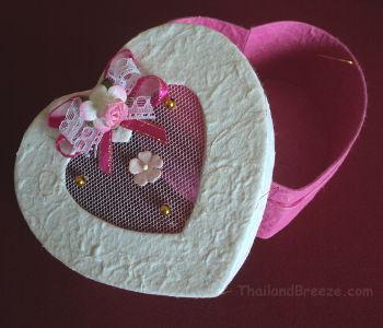 A pink heart-shaped gift box.