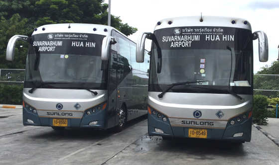 The Hua Hin - Suvarnabhumi Airport Buses are clearly marked