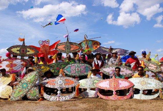 Crescent moon kites at the International Kite Festival in Satun, Thailand.