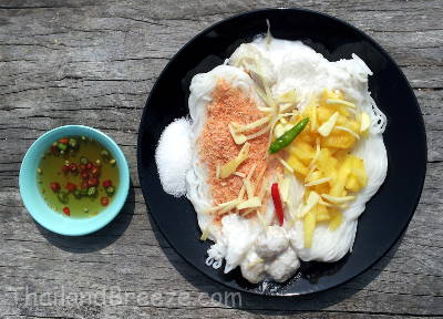 Fresh Thai rice noodles with coconut milk with fish balls.