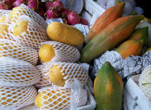 There are plenty of papayas and other tropical fruits in Thailand
