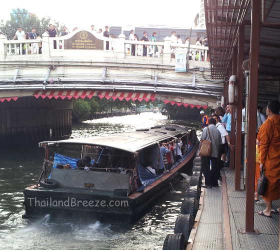 A canal boat in Bangkok at Pratunam pier.