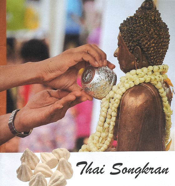 It's a tradition to pour fragrant water on a Buddha statue on Songkran.