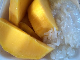 Sticky rice with mango is a very popular dessert among Thais