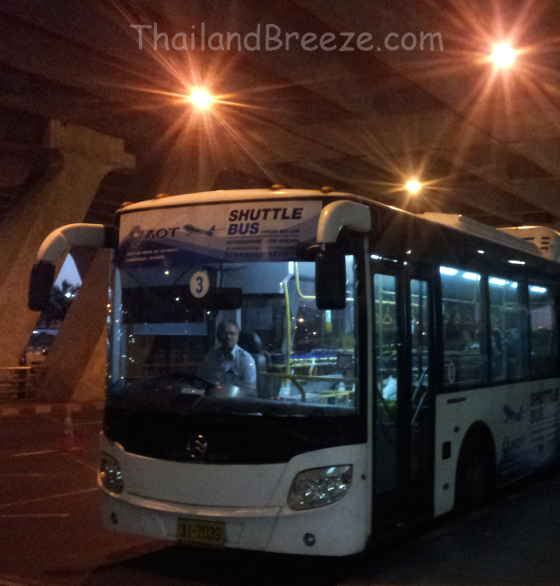 This free shuttle bus takes you between the two international airports in Bangkok, Thailand.