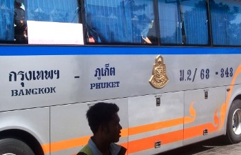 The buses in Thailand have the destination and the bus number on the side
