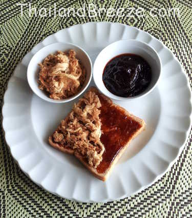 In Thailand, many people eat bread with chili paste and shredded pork.