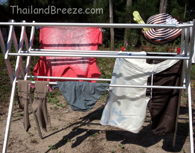 When drying laundry in Thailand, shirts are hung higher up and underwear lower down.