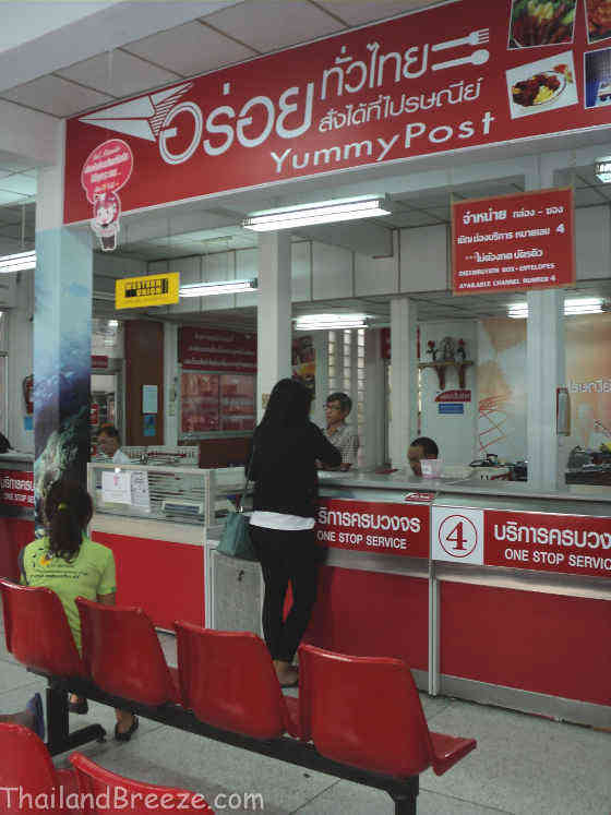 Inside a Thai post office.