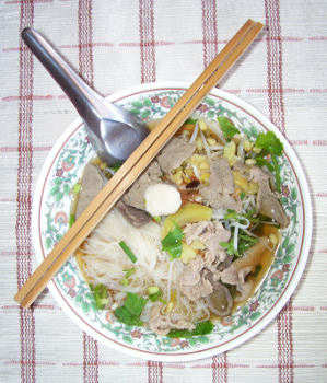 Pork noodle soups are common in Thailand