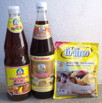 Soy sauce and mushroom sauce for vegetarians in Thailand