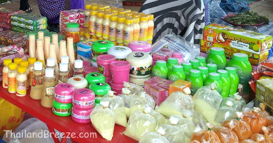 Thanaka cosmetics sold at a border market in Thailand.
