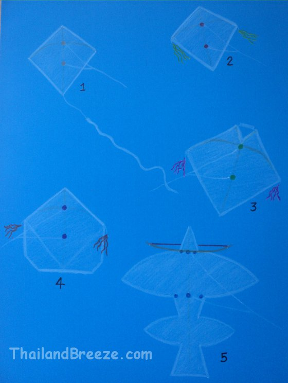 A drawing of five traditional Thai kites.