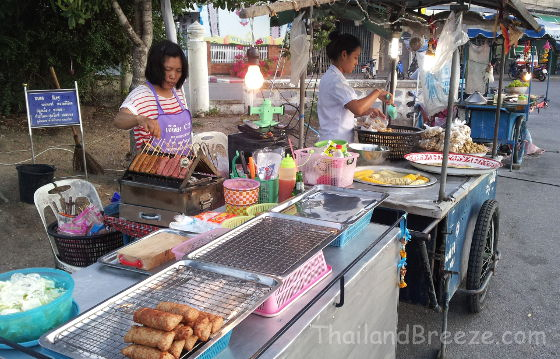 The night markets in Thailand offer a wide variety of foods.